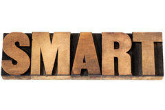 Smart word in wood type Stock Image
