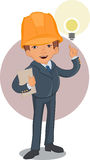 Smart worker cartoon character Stock Images