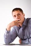 Smart worker wondering Royalty Free Stock Image