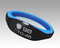Smart wrist band displaying heart rate and time. Intelligent gadget for health concept Stock Images