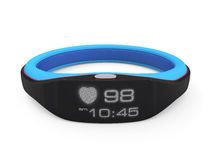Smart wrist band displaying heart rate and time. Concept of smart healthcare gadget Royalty Free Stock Image