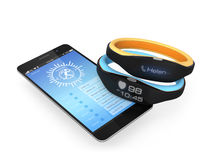 Smart wristbands and smartphone. Two smart wristbands demonstrating phone calling and heart rate notification, one synchronized with smartphone Royalty Free Stock Image
