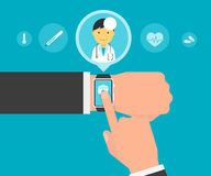 Smart wristwatch application for health Stock Image
