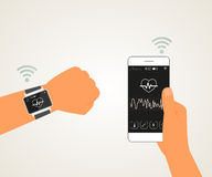 Smart wristwatch. Vector illustration of electronic wrist watch controlling heartbeat connected with smartphone Stock Image