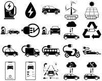 Smart y vehículo eléctrico en monótono stock de ilustración