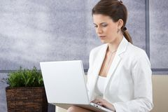 Smart young businesswoman with laptop Stock Image