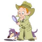 Smart young cartoon detective boy Stock Photos