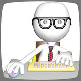 Smart young computer user inside monitor Stock Images