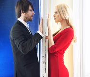 Smart young couple on the date Royalty Free Stock Photo