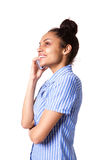 Smart young lady making phone call Royalty Free Stock Photos
