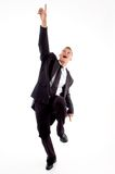Smart young lawyer pointing upwards Royalty Free Stock Photos