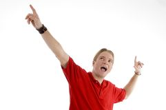 Smart young man showing happy gesture Stock Photos