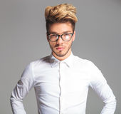 Smart young man wearing glasses while posing Stock Photography