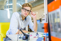 Smart young man working with 3d technology Royalty Free Stock Images