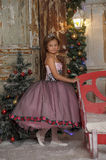 Smart young princess in a pink dress in Christmas