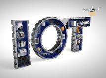 Smarta anordningar i ordet IoT stock illustrationer