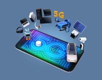 Smarta anordningar, surr, autonomt medel och robot på den smarta telefonen stock illustrationer