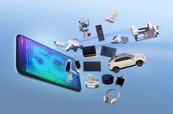 Smarta anordningar, surr, autonomt medel och robothopp från den smarta telefonen vektor illustrationer