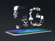 Smarta anordningar, surret, det autonoma medlet och roboten som är ordnade i ` för ` 5G, smsar stock illustrationer