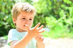 Smarta barnräkningsfingrar Pojken ska vara fem gamla år Ett härligt barn visar hans hand, ett litet gömma i handflatan Gullig ung arkivfoton