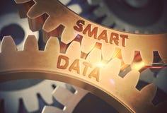 Smarta data på guld- metalliska kugghjul illustration 3d Fotografering för Bildbyråer