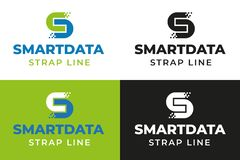 Smarta Digitala data Logo Template stock illustrationer