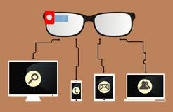 Smarta exponeringsglas förbinds till apparater Arkivfoton