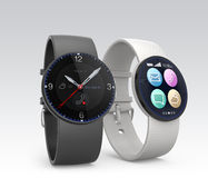 Smarta klockor på grå bakgrund Royaltyfria Foton