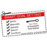 Smarta mål som ställer in kupongbegrepp Arkivfoto