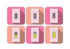 Smarta rosa färger för symbol för telefonbatterinivå tonar vektorillustrationen royaltyfri foto