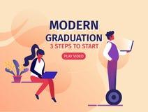 Smarta teknologier för internet i lärande system stock illustrationer