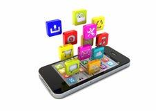 Smarta telefonapps Arkivfoto
