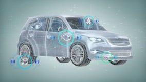 Smartcar som kontrollerar på en tolkning för bakgrund 3d Royaltyfri Foto