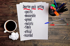 Smarten goals setting text Royalty Free Stock Photography