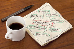 Smarter goal setting concept. SMARTER acronym (specific, measurable, agreed, realistic, time-bound, ethical, recorded) - goal setting methodology - napkin notes royalty free stock photos