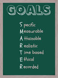 Smarter Goals Blackboard. A blackboard with the word Goals and the acronym smarter standing for specific, measurable, attainable, realistic, time based Stock Photo