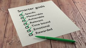 Smarter goals checklist ballpen and tick marks. Advanced goal setting concept with the words specific measurable achievable relevant time bound emotional and Royalty Free Stock Image