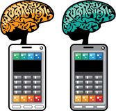 Smartest Phone vector with a Brain. File eps Royalty Free Stock Photography