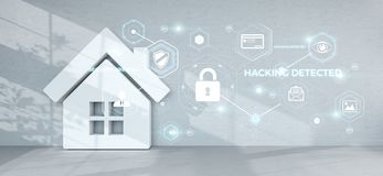 Smarthome security interface 3D rendering Stock Image