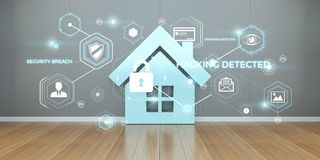 Smarthome security interface 3D rendering Royalty Free Stock Image