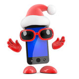 smarthphone de 3d Santa Imagem de Stock Royalty Free