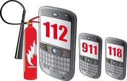 smarthpone de vecteur, numéros de secours Images libres de droits