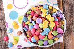 Smarties. On wood background,top view Stock Photos