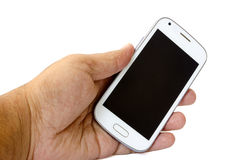 Smart Phone in Hand. Smartl phone in hand against white background Stock Photos