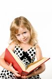 Smartlittle student girl with a big book isolated Royalty Free Stock Photography