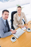 Smartly dressed colleagues in business meeting royalty free stock photo