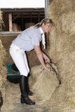 Horsewoman in a stable preparing hay to feed a horse. Smartly dressed horse rider filling a haynet to feed a horse. November 2017 Stock Images