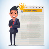 Smartman in thinking action. presenting concept - Stock Photography