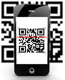 Smartphone在重点外面的扫瞄码 图库摄影