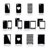 Smartphone, ícones da caixa da tabuleta ajustados Fotografia de Stock Royalty Free